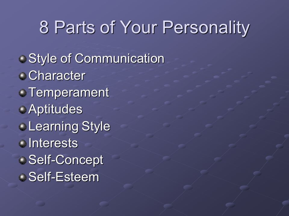 8 Parts of Your Personality Style of Communication CharacterTemperamentAptitudes Learning Style InterestsSelf-ConceptSelf-Esteem