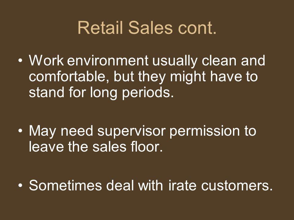 Retail Sales cont.
