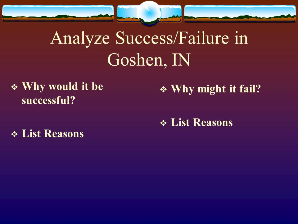 Analyze Success/Failure in Goshen, IN Why would it be successful? List Reasons Why might it fail? List Reasons