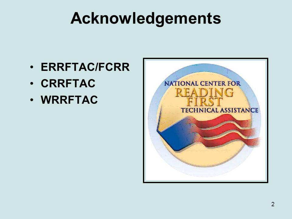 2 Acknowledgements ERRFTAC/FCRR CRRFTAC WRRFTAC
