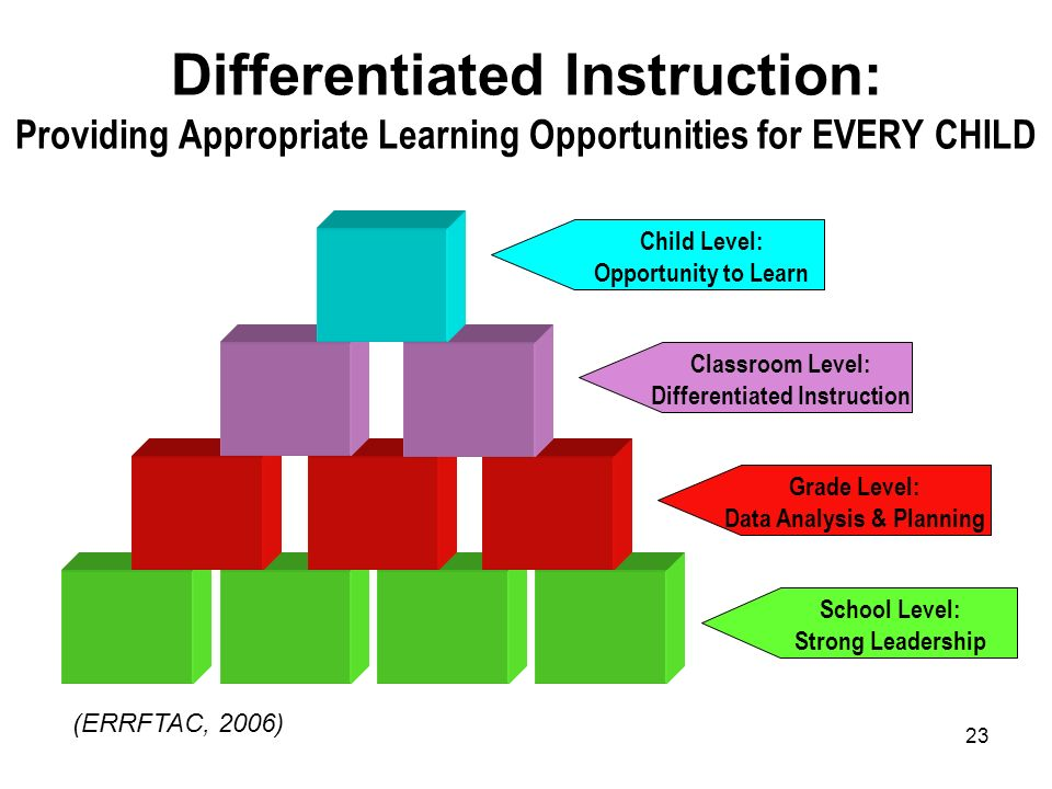 23 Differentiated Instruction: Providing Appropriate Learning Opportunities for EVERY CHILD School Level: Strong Leadership Classroom Level: Different