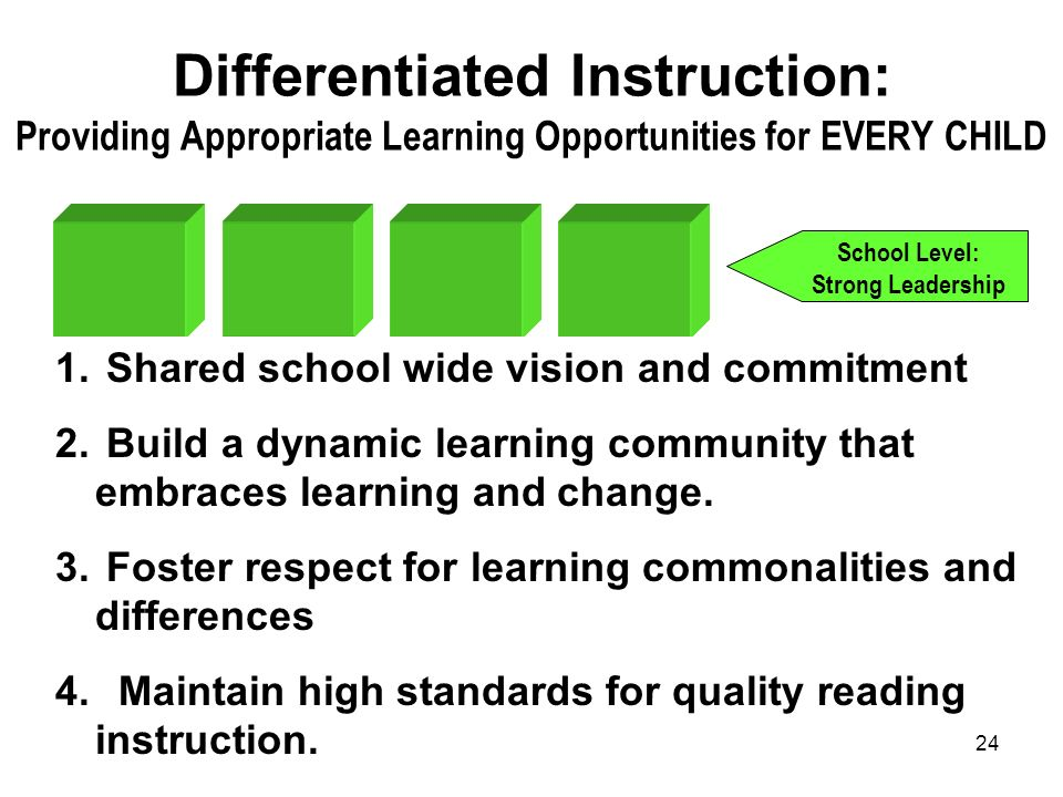 24 Differentiated Instruction: Providing Appropriate Learning Opportunities for EVERY CHILD School Level: Strong Leadership 1. Shared school wide visi