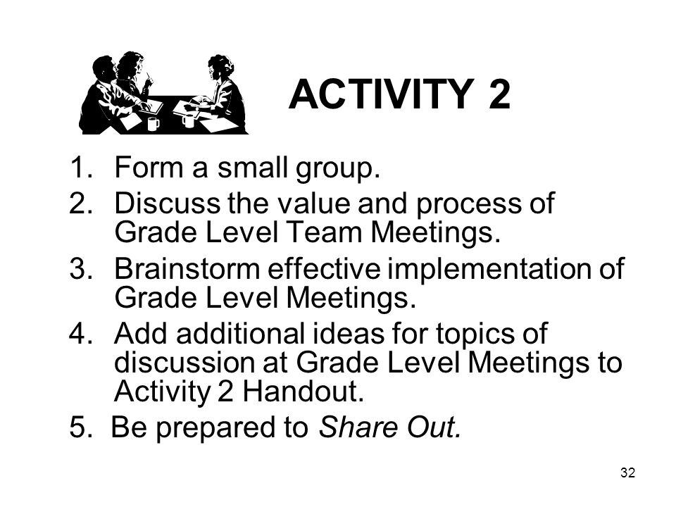 32 ACTIVITY 2 1.Form a small group. 2.Discuss the value and process of Grade Level Team Meetings. 3.Brainstorm effective implementation of Grade Level