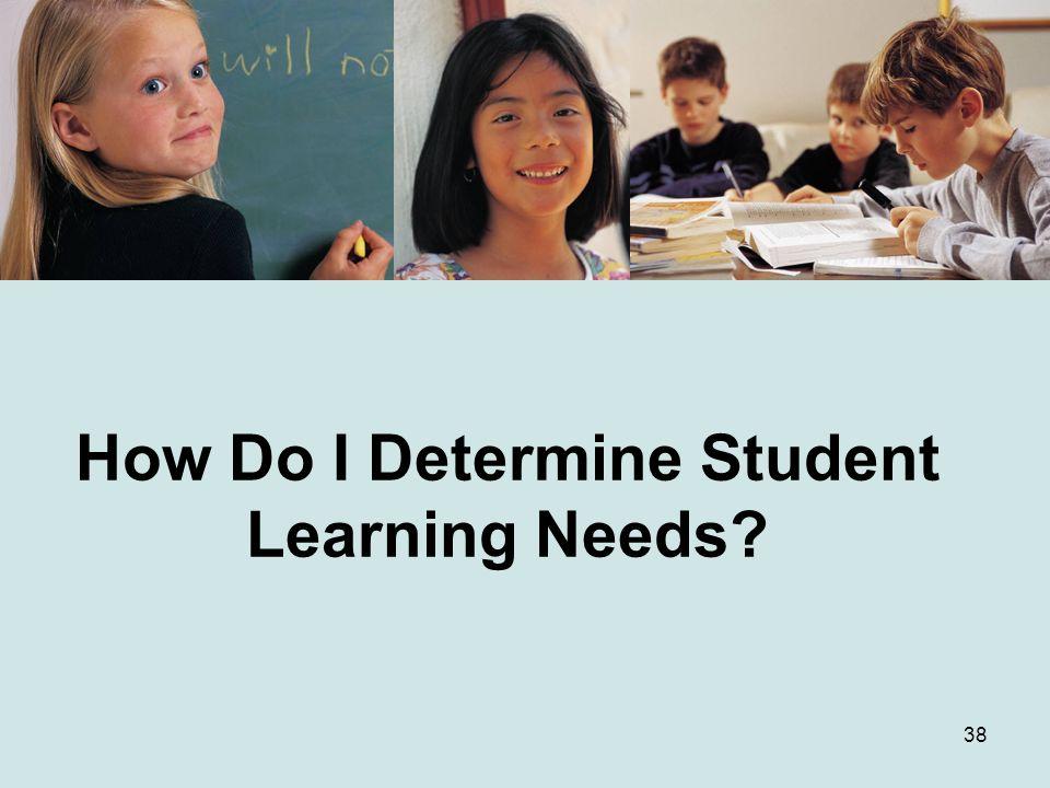 38 How Do I Determine Student Learning Needs?