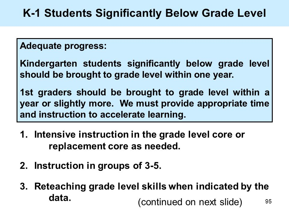 95 K-1 Students Significantly Below Grade Level 1.Intensive instruction in the grade level core or replacement core as needed. 2.Instruction in groups
