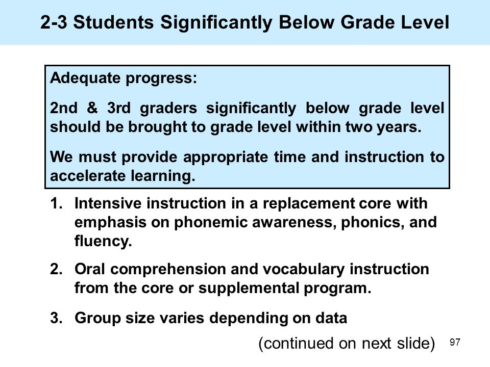 97 2-3 Students Significantly Below Grade Level 1.Intensive instruction in a replacement core with emphasis on phonemic awareness, phonics, and fluenc