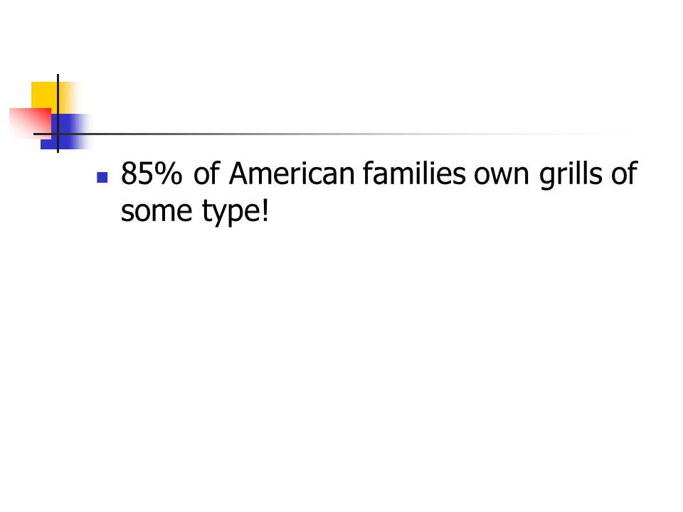 85% of American families own grills of some type!