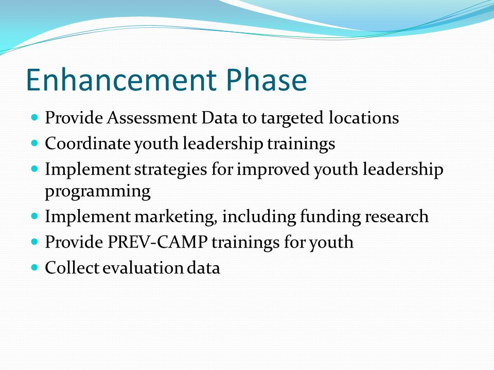 Enhancement Phase Provide Assessment Data to targeted locations Coordinate youth leadership trainings Implement strategies for improved youth leadersh