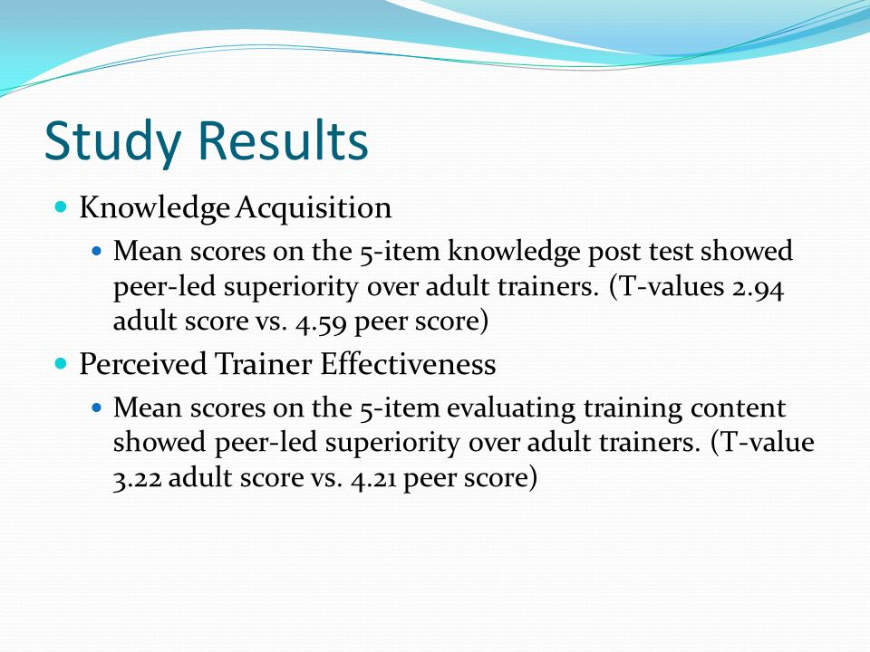 Study Results Knowledge Acquisition Mean scores on the 5-item knowledge post test showed peer-led superiority over adult trainers. (T-values 2.94 adul