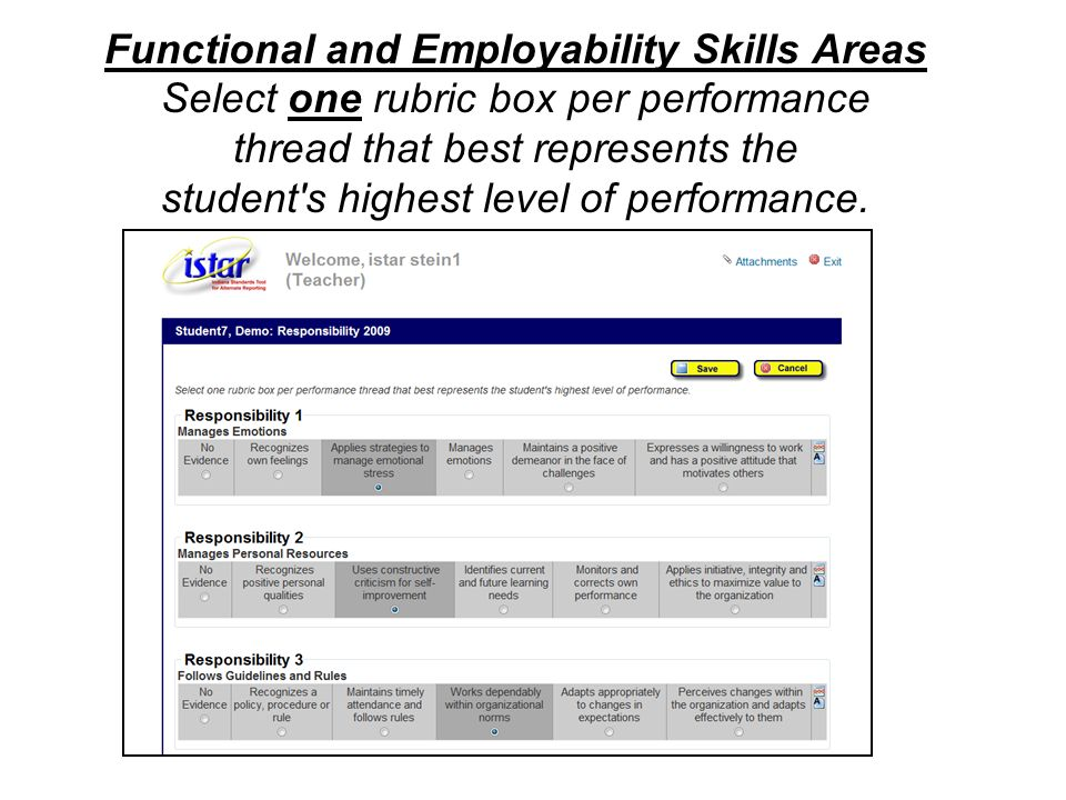 Functional and Employability Skills Areas Select one rubric box per performance thread that best represents the student's highest level of performance