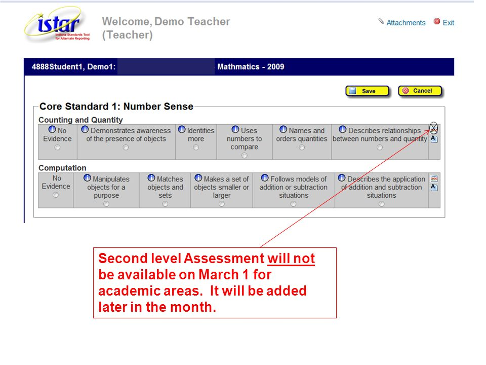 Second level Assessment will not be available on March 1 for academic areas. It will be added later in the month.