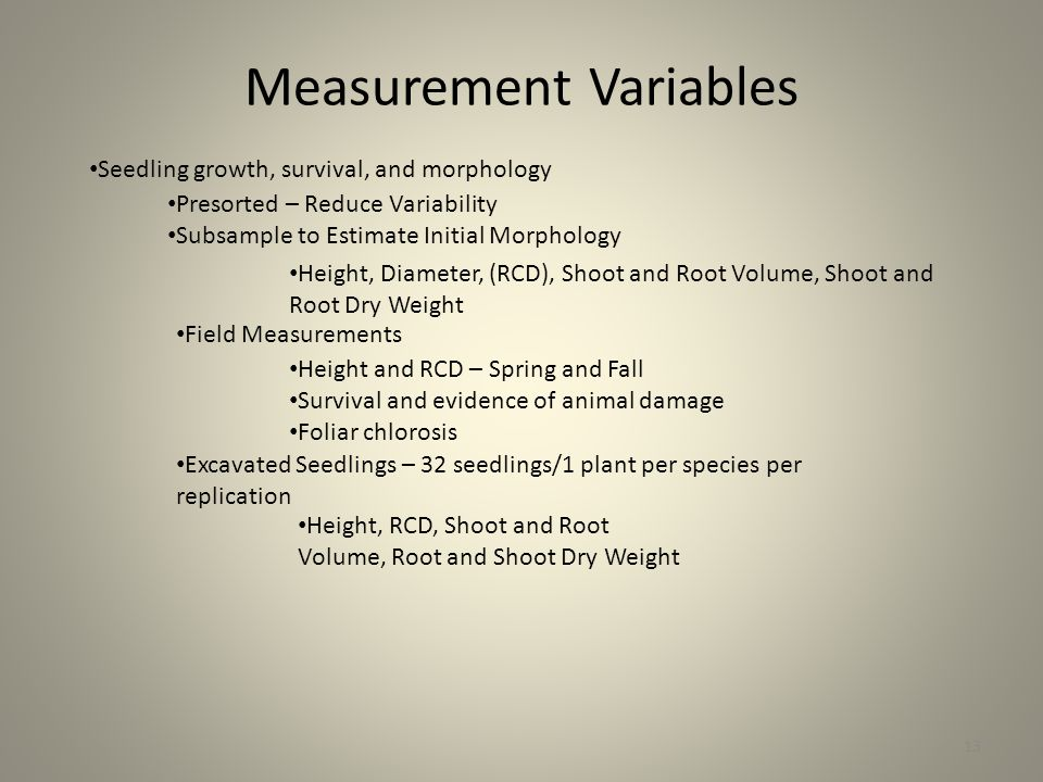 Measurement Variables 13 Seedling growth, survival, and morphology Presorted – Reduce Variability Subsample to Estimate Initial Morphology Height, Diameter, (RCD), Shoot and Root Volume, Shoot and Root Dry Weight Field Measurements Height and RCD – Spring and Fall Survival and evidence of animal damage Foliar chlorosis Excavated Seedlings – 32 seedlings/1 plant per species per replication Height, RCD, Shoot and Root Volume, Root and Shoot Dry Weight