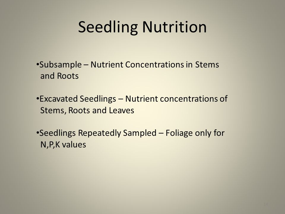 Seedling Nutrition 14 Subsample – Nutrient Concentrations in Stems and Roots Excavated Seedlings – Nutrient concentrations of Stems, Roots and Leaves Seedlings Repeatedly Sampled – Foliage only for N,P,K values