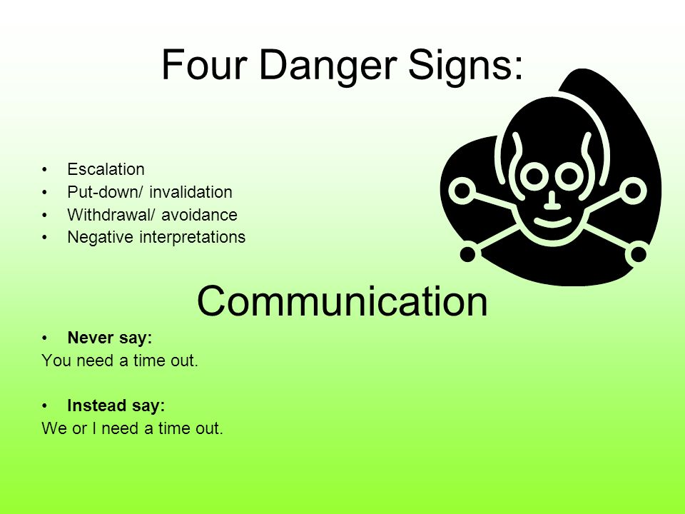Four Danger Signs: Escalation Put-down/ invalidation Withdrawal/ avoidance Negative interpretations Communication Never say: You need a time out. Inst