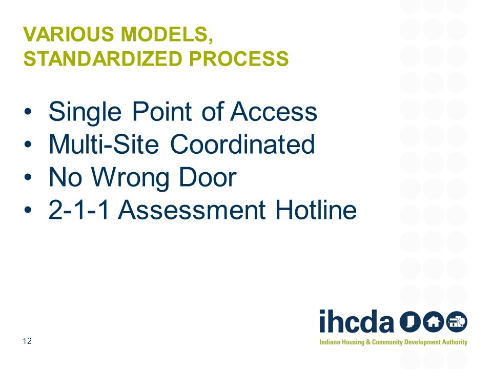 VARIOUS MODELS, STANDARDIZED PROCESS Single Point of Access Multi-Site Coordinated No Wrong Door 2-1-1 Assessment Hotline 12