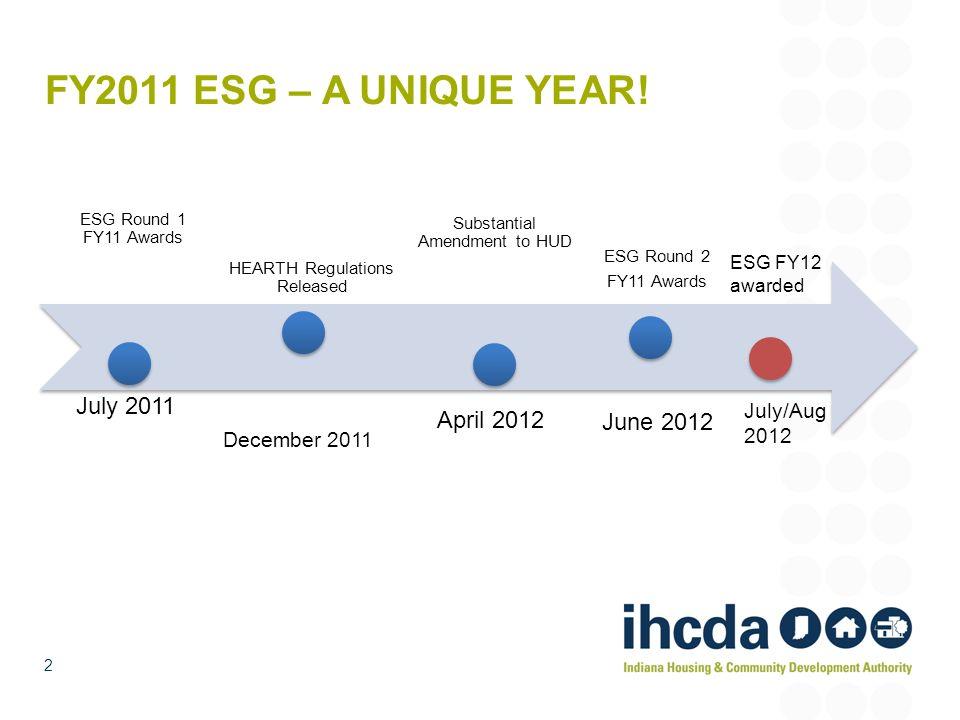 FY2011 ESG – A UNIQUE YEAR! ESG Round 1 FY11 Awards HEARTH Regulations Released ESG Round 2 FY11 Awards Substantial Amendment to HUD 2 July 2011 Decem