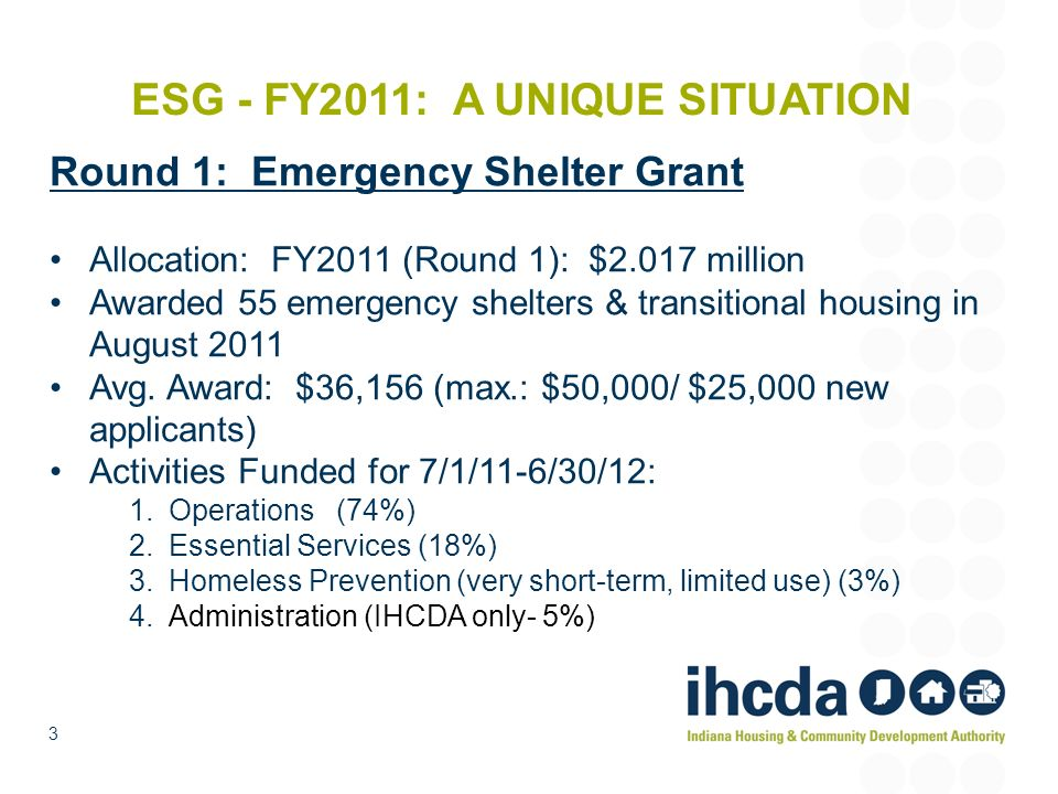 ESG - FY2011: A UNIQUE SITUATION Round 1: Emergency Shelter Grant Allocation: FY2011 (Round 1): $2.017 million Awarded 55 emergency shelters & transit