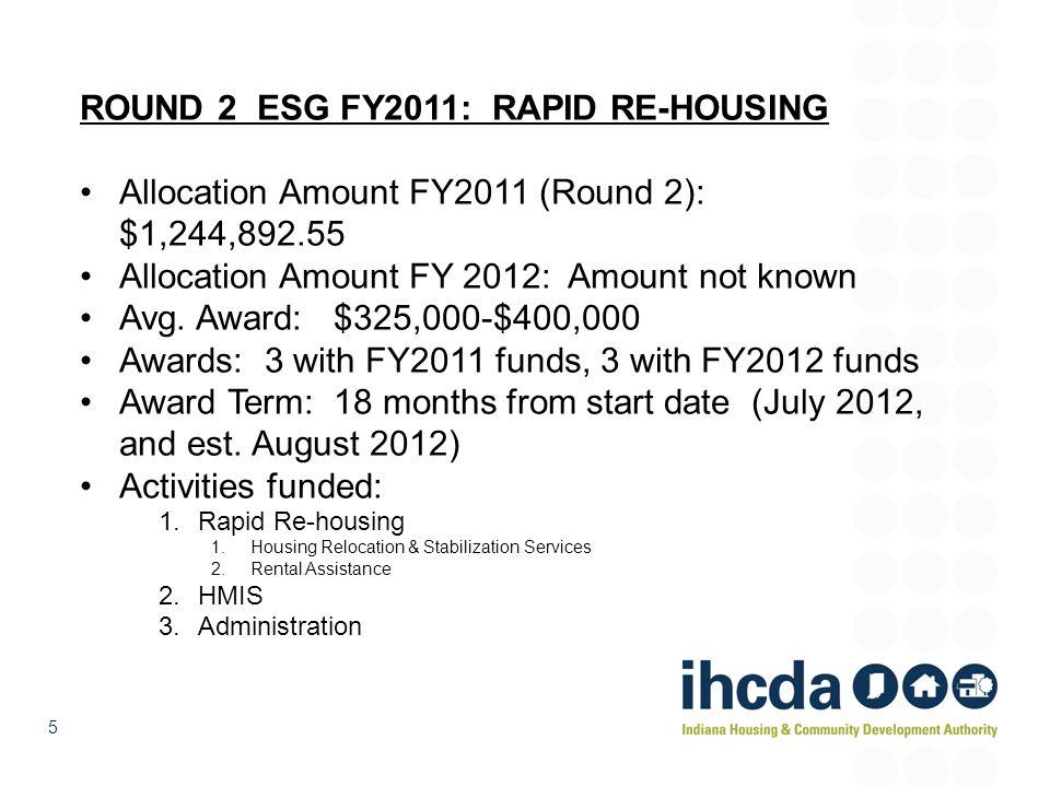 5 ROUND 2 ESG FY2011: RAPID RE-HOUSING Allocation Amount FY2011 (Round 2): $1,244,892.55 Allocation Amount FY 2012: Amount not known Avg. Award: $325,