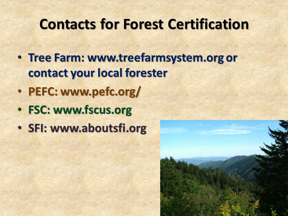 Contacts for Forest Certification Tree Farm: www.treefarmsystem.org or contact your local forester Tree Farm: www.treefarmsystem.org or contact your local forester PEFC: www.pefc.org/ PEFC: www.pefc.org/ FSC: www.fscus.org FSC: www.fscus.org SFI: www.aboutsfi.org SFI: www.aboutsfi.org