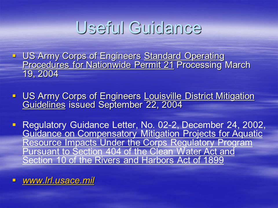 Useful Guidance US Army Corps of Engineers Standard Operating Procedures for Nationwide Permit 21 Processing March 19, 2004 US Army Corps of Engineers