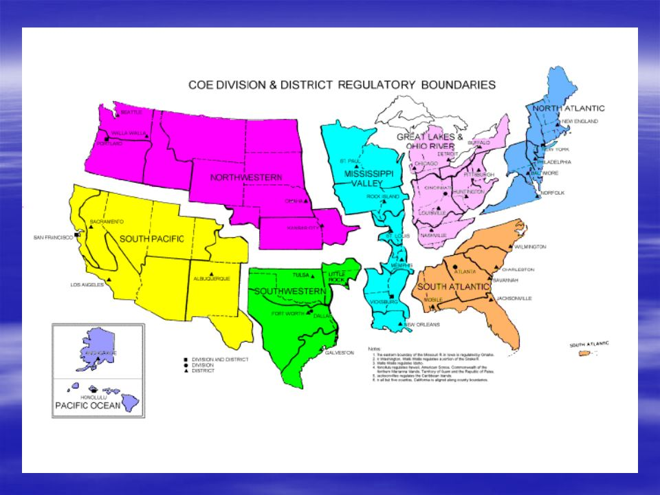 US Army Corps of Engineers Organization 8 Divisions - Ex.