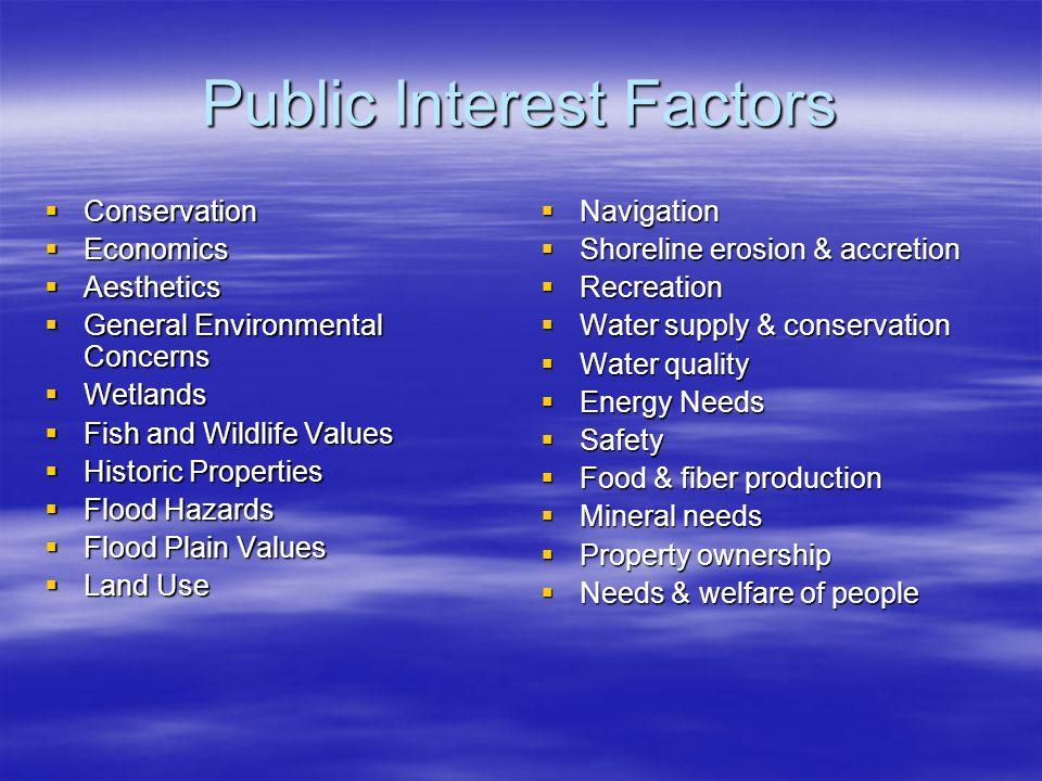 Public Interest Factors Conservation Conservation Economics Economics Aesthetics Aesthetics General Environmental Concerns General Environmental Conce