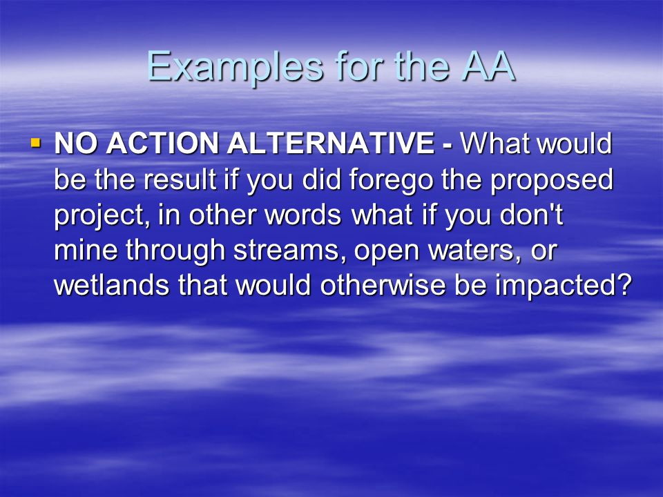 Examples for the AA NO ACTION ALTERNATIVE - What would be the result if you did forego the proposed project, in other words what if you don't mine thr