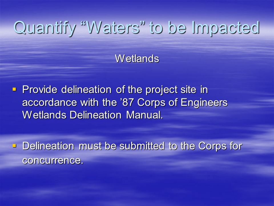 Quantify Waters to be Impacted Wetlands Provide delineation of the project site in accordance with the 87 Corps of Engineers Wetlands Delineation Manu