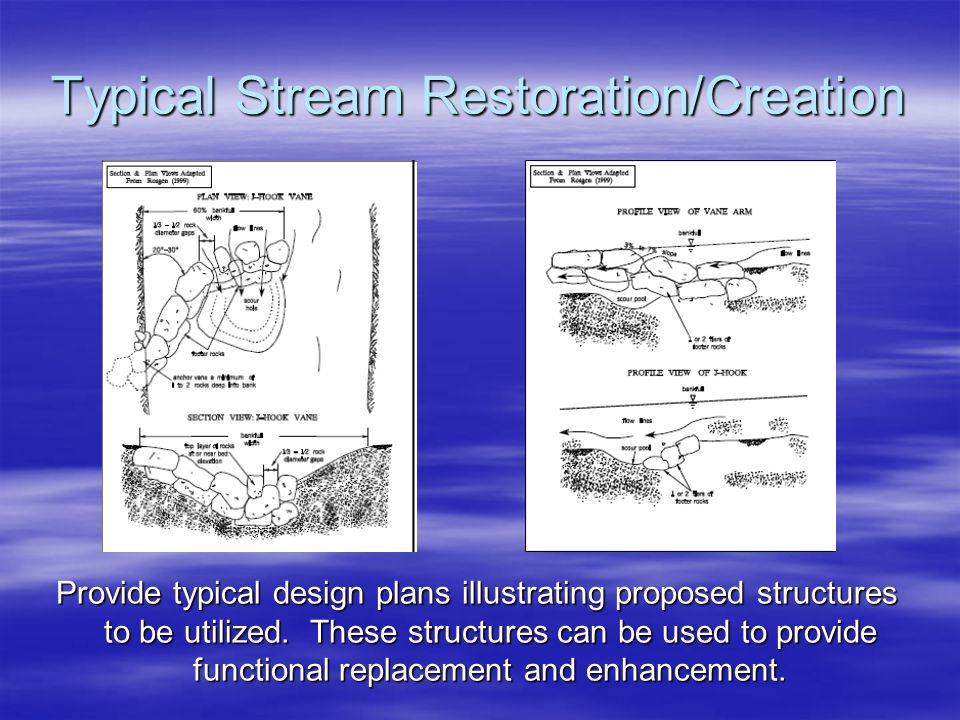Typical Stream Restoration/Creation Provide typical design plans illustrating proposed structures to be utilized. These structures can be used to prov