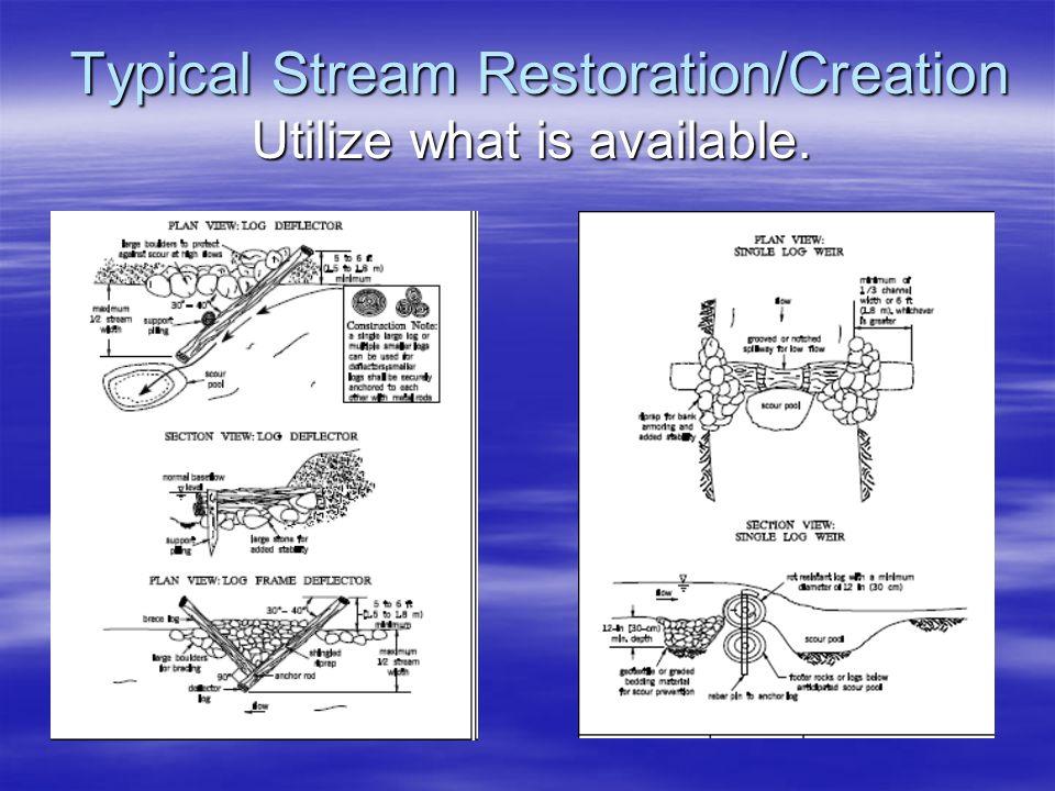Typical Stream Restoration/Creation Utilize what is available. Typical Stream Restoration/Creation Utilize what is available.