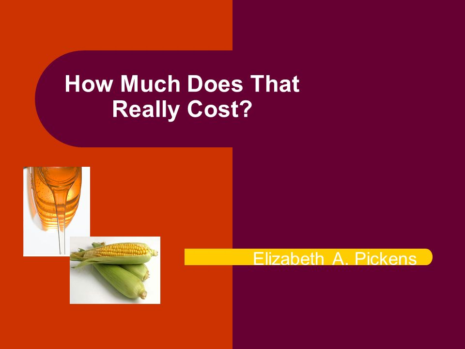 How Much Does That Really Cost Elizabeth A. Pickens