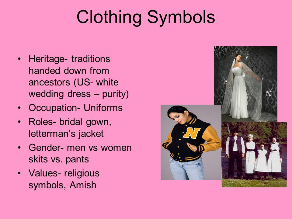 Clothing Symbols Heritage- traditions handed down from ancestors (US- white wedding dress – purity) Occupation- Uniforms Roles- bridal gown, lettermans jacket Gender- men vs women skits vs.