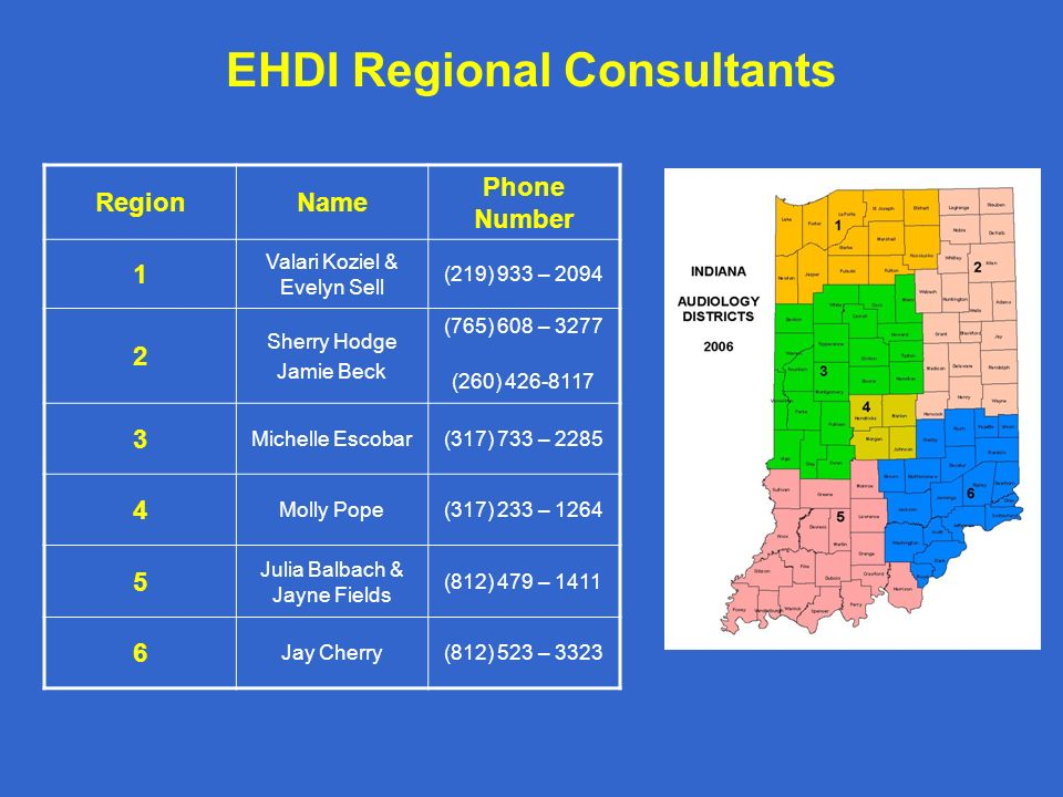 EHDI Regional Consultants RegionName Phone Number 1 Valari Koziel & Evelyn Sell (219) 933 – 2094 2 Sherry Hodge Jamie Beck (765) 608 – 3277 (260) 426-