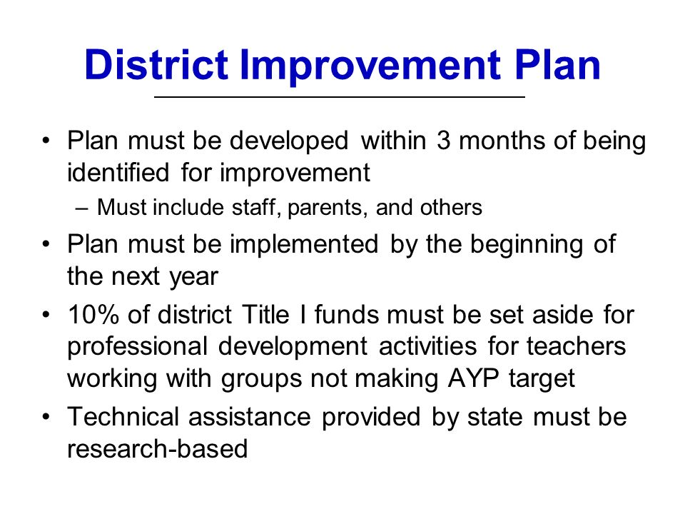 District Improvement Plan Plan must be developed within 3 months of being identified for improvement –Must include staff, parents, and others Plan must be implemented by the beginning of the next year 10% of district Title I funds must be set aside for professional development activities for teachers working with groups not making AYP target Technical assistance provided by state must be research-based