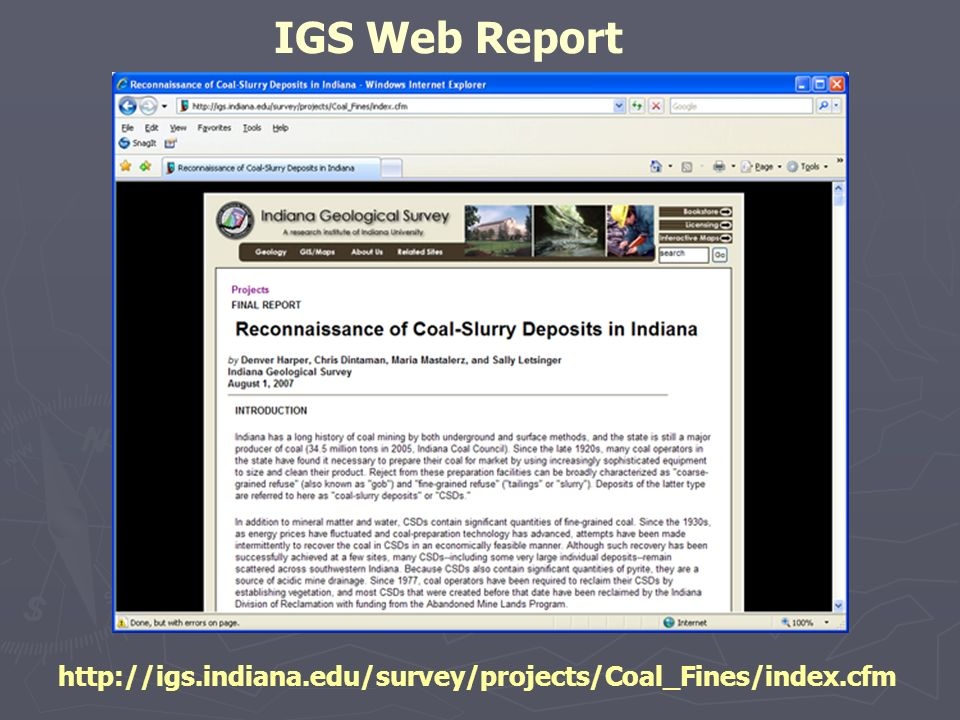 IGS Web Report http://igs.indiana.edu/survey/projects/Coal_Fines/index.cfm