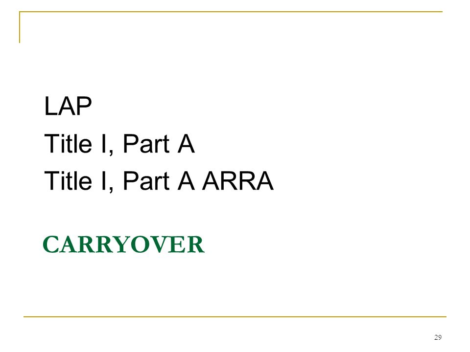 CARRYOVER LAP Title I, Part A Title I, Part A ARRA 29