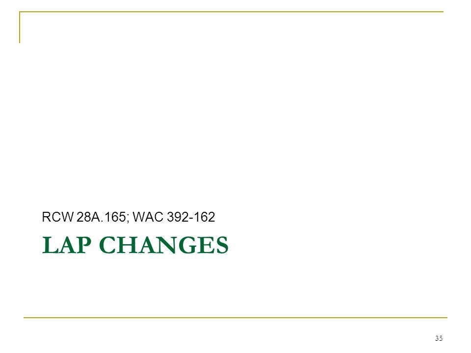 LAP CHANGES RCW 28A.165; WAC 392-162 35