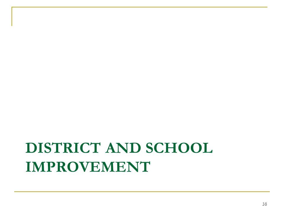 DISTRICT AND SCHOOL IMPROVEMENT 38