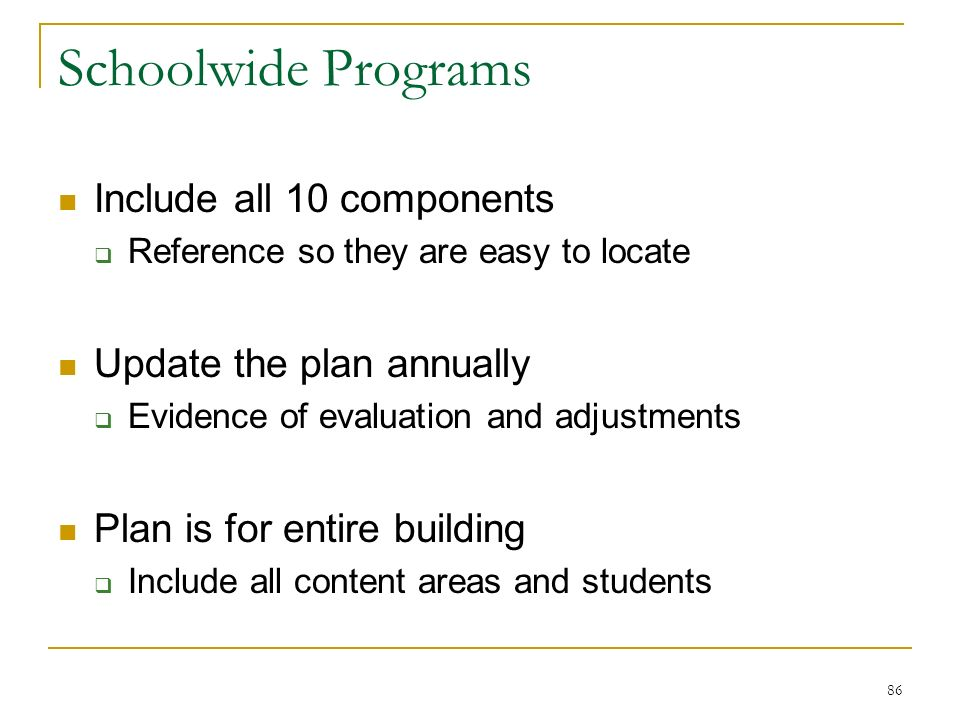 Schoolwide Programs Include all 10 components Reference so they are easy to locate Update the plan annually Evidence of evaluation and adjustments Plan is for entire building Include all content areas and students 86