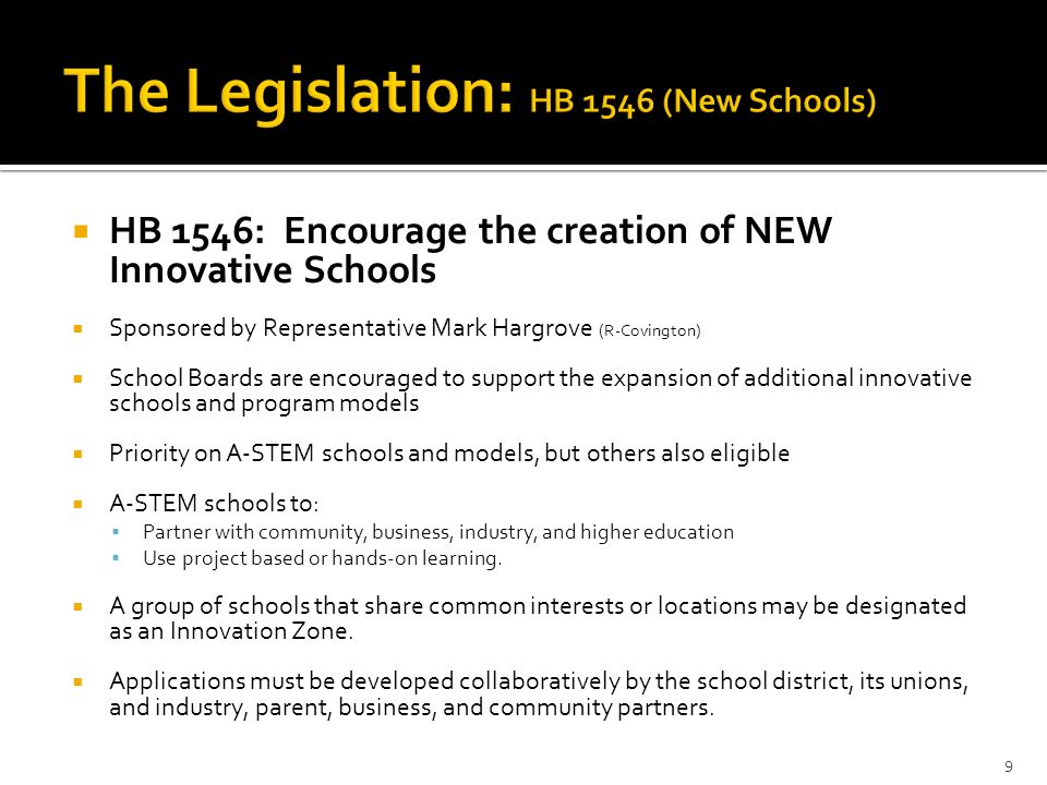 HB 1546: Encourage the creation of NEW Innovative Schools Sponsored by Representative Mark Hargrove (R-Covington) School Boards are encouraged to supp