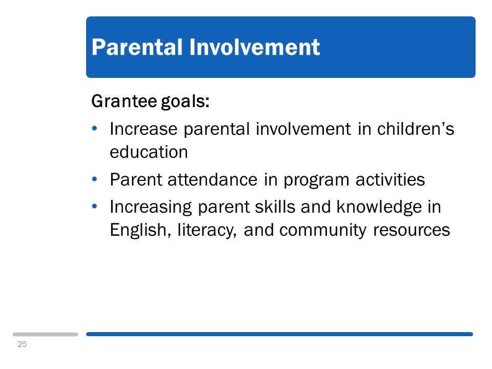 25 Parental Involvement Grantee goals: Increase parental involvement in childrens education Parent attendance in program activities Increasing parent skills and knowledge in English, literacy, and community resources