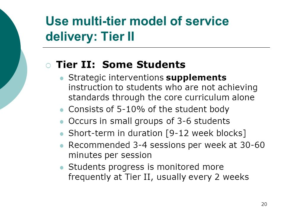 20 Use multi-tier model of service delivery: Tier II Tier II: Some Students Strategic interventions supplements instruction to students who are not ac
