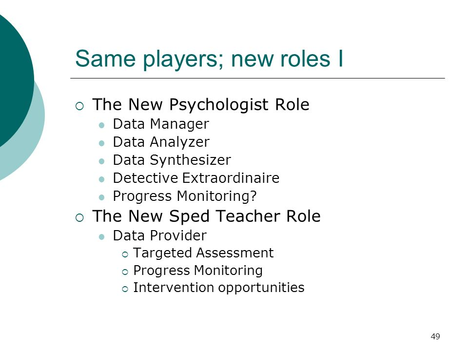 49 Same players; new roles I The New Psychologist Role Data Manager Data Analyzer Data Synthesizer Detective Extraordinaire Progress Monitoring? The N