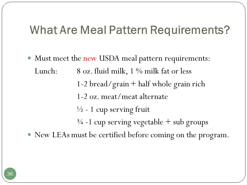 What Are Meal Pattern Requirements.