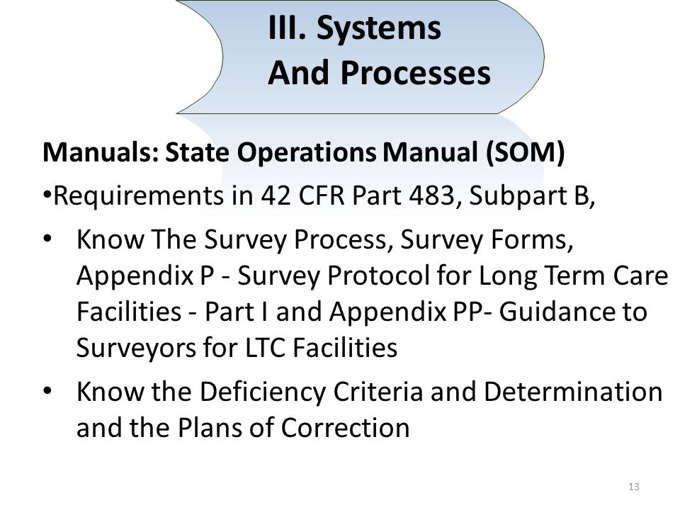 III. Systems And Processes Manuals: State Operations Manual (SOM) Requirements in 42 CFR Part 483, Subpart B, Know The Survey Process, Survey Forms, A