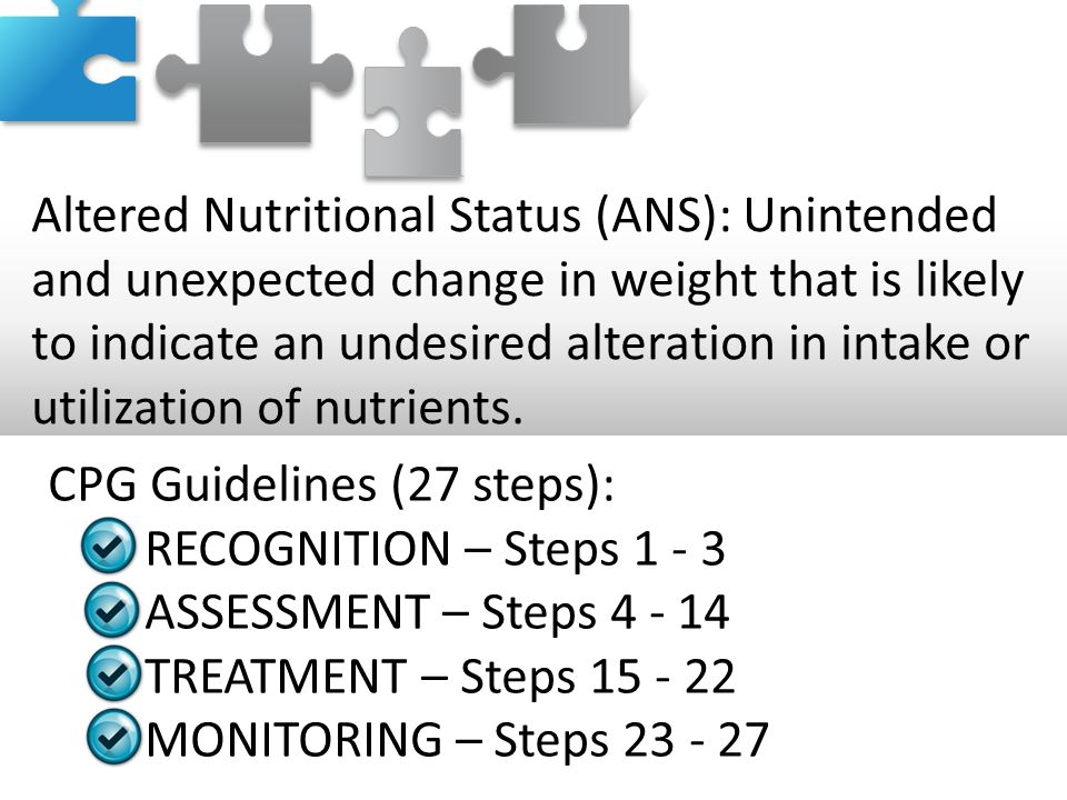Altered Nutritional Status (ANS): Unintended and unexpected change in weight that is likely to indicate an undesired alteration in intake or utilizati