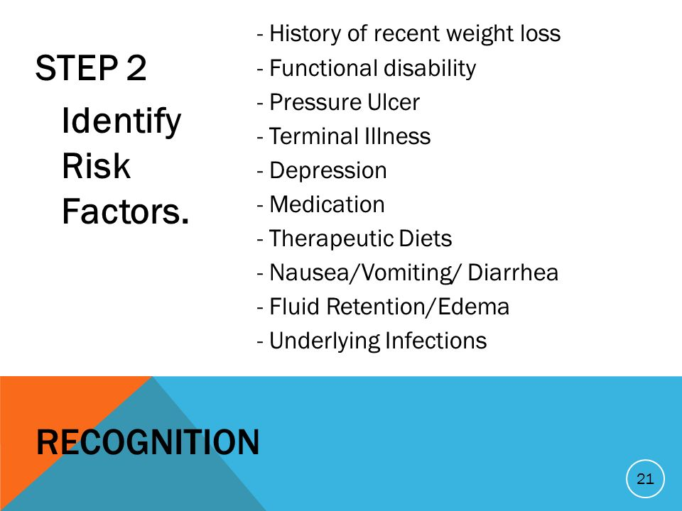 STEP 2 Identify Risk Factors. - History of recent weight loss - Functional disability - Pressure Ulcer - Terminal Illness - Depression - Medication -