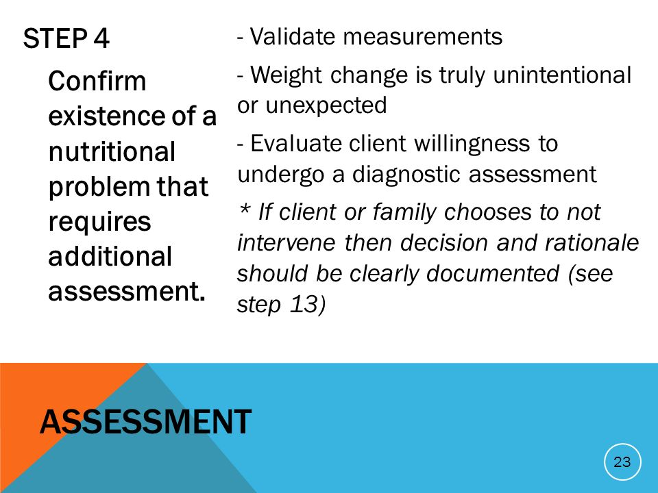 STEP 4 Confirm existence of a nutritional problem that requires additional assessment.