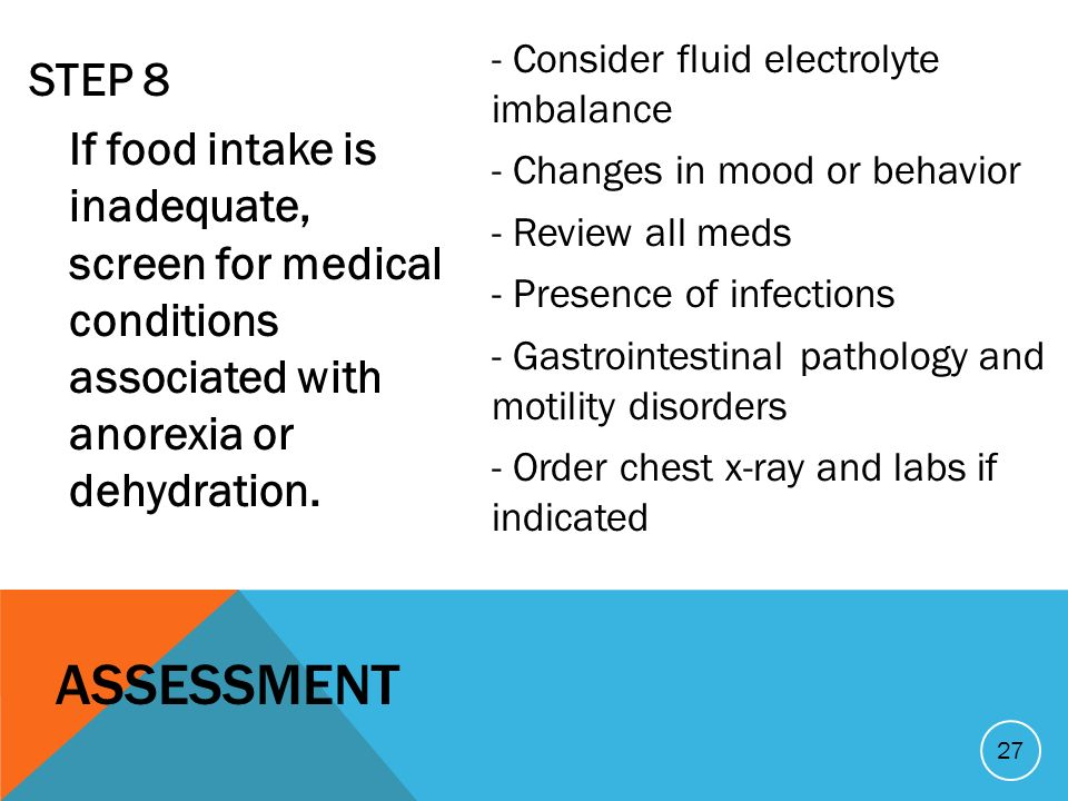 STEP 8 If food intake is inadequate, screen for medical conditions associated with anorexia or dehydration.