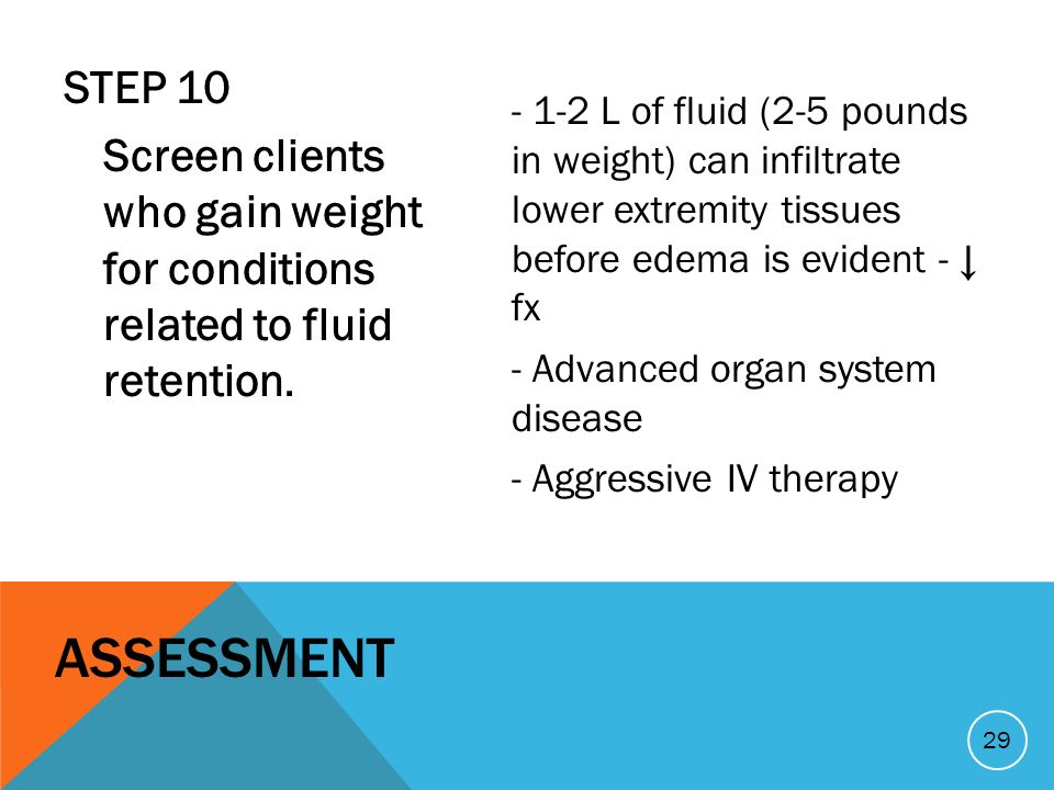 STEP 10 Screen clients who gain weight for conditions related to fluid retention.